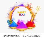 color bowls with realistic... | Shutterstock .eps vector #1271333023