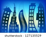 abstract blue houses background ... | Shutterstock . vector #127135529