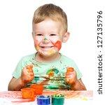 portrait of a cute little boy... | Shutterstock . vector #127135796
