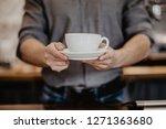 barista prepares cappuccino in...   Shutterstock . vector #1271363680