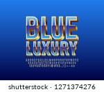 stylish blue and golden font.... | Shutterstock .eps vector #1271374276