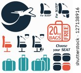 icon set of luggage and seats... | Shutterstock .eps vector #127138916