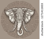 stylized elephant head art on... | Shutterstock . vector #1271411833
