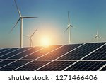 solar panel and wind turbine... | Shutterstock . vector #1271466406