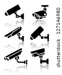 Video surveillance, new big set stickers, vector illustration
