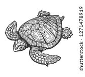 sea turtle  drawn in tattoo... | Shutterstock . vector #1271478919