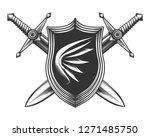 shield with wing emblem and... | Shutterstock . vector #1271485750
