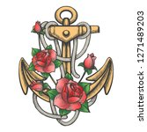 hand drawn anchor with ropes... | Shutterstock . vector #1271489203