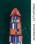 aerial top view container ship... | Shutterstock . vector #1271492863