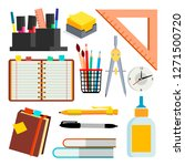 stationery icons vector. pen ... | Shutterstock .eps vector #1271500720
