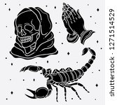 set flash tattoo horror  vector ... | Shutterstock .eps vector #1271514529