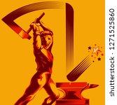 man swinging a sledge hammer on ... | Shutterstock .eps vector #1271525860