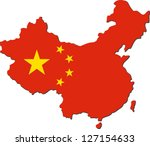 map of china with national flag ...   Shutterstock .eps vector #127154633