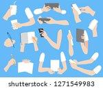 set of human hands with... | Shutterstock .eps vector #1271549983