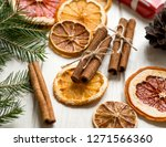 christmas decoration with dry... | Shutterstock . vector #1271566360