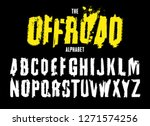 grunge tire letters. unique off ... | Shutterstock .eps vector #1271574256