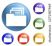 file folder icons set 6 color...