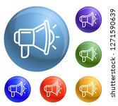 megaphone icons set 6 color...