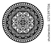 black and white round ethnic... | Shutterstock .eps vector #1271597536