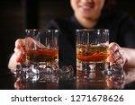 the bartender girl smiles and... | Shutterstock . vector #1271678626