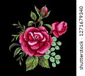 red rose embroidery on black... | Shutterstock .eps vector #1271679340