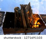 brazier with burning wood in... | Shutterstock . vector #1271691103