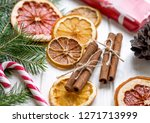 christmas decoration with dry... | Shutterstock . vector #1271713999