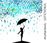 a boy with an umbrella under... | Shutterstock .eps vector #1271737813