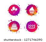 birthday crown party icons.... | Shutterstock .eps vector #1271746390