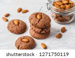 almond cookies with cocoa on a... | Shutterstock . vector #1271750119