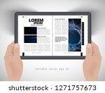 top view of hands with tablet...   Shutterstock .eps vector #1271757673