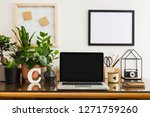 Home Office Desk With Notebook...