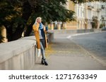 stylish happy young blond woman ... | Shutterstock . vector #1271763349