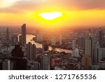 aerial view cityscape bangkok...   Shutterstock . vector #1271765536