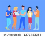 group of people at work process ... | Shutterstock .eps vector #1271783356