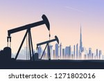 oil well pumpjack with abstract ... | Shutterstock .eps vector #1271802016