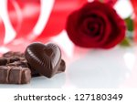 Heart  Chocolates And Flower