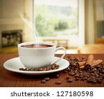 cup of coffee with cinnamon and ...   Shutterstock . vector #127180598