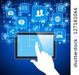 social media  communication in... | Shutterstock .eps vector #127181066