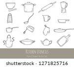 hand drawn kitchen utensils... | Shutterstock .eps vector #1271825716