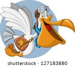 Cartoon Pelican With An Open...