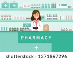 pharmacy with nurse in counter. ... | Shutterstock .eps vector #1271867296