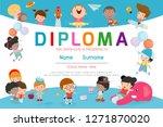 certificates kindergarten and... | Shutterstock .eps vector #1271870020