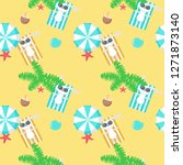 pattern with cute bunny taking... | Shutterstock . vector #1271873140