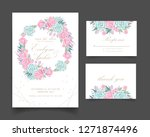 floral wedding invitation with... | Shutterstock .eps vector #1271874496