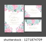 floral wedding invitation with... | Shutterstock .eps vector #1271874709