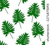 green tropical leaves. seamless ... | Shutterstock .eps vector #1271875093