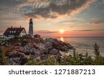 sunrise at portland headlight | Shutterstock . vector #1271887213