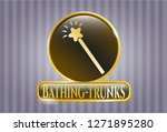 gold emblem with magic stick... | Shutterstock .eps vector #1271895280