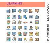 learning icons set. ui pixel...